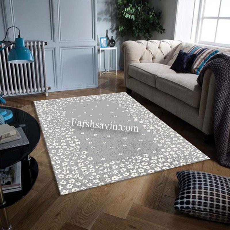 فرش ساوین 4007 نقره ای فرش اتاق خواب