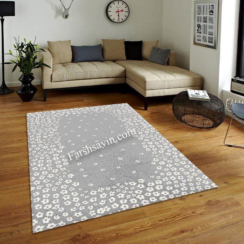 فرش ساوین 4007 نقره ای فرش مرغوب