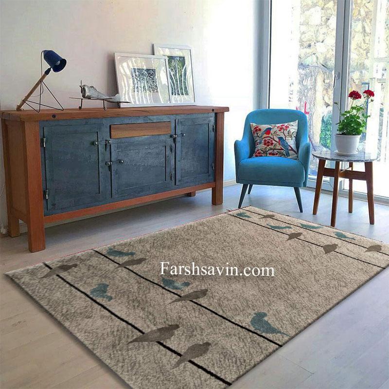 فرش ساوین 4008 نقره ای فرش مدرن و فانتزی
