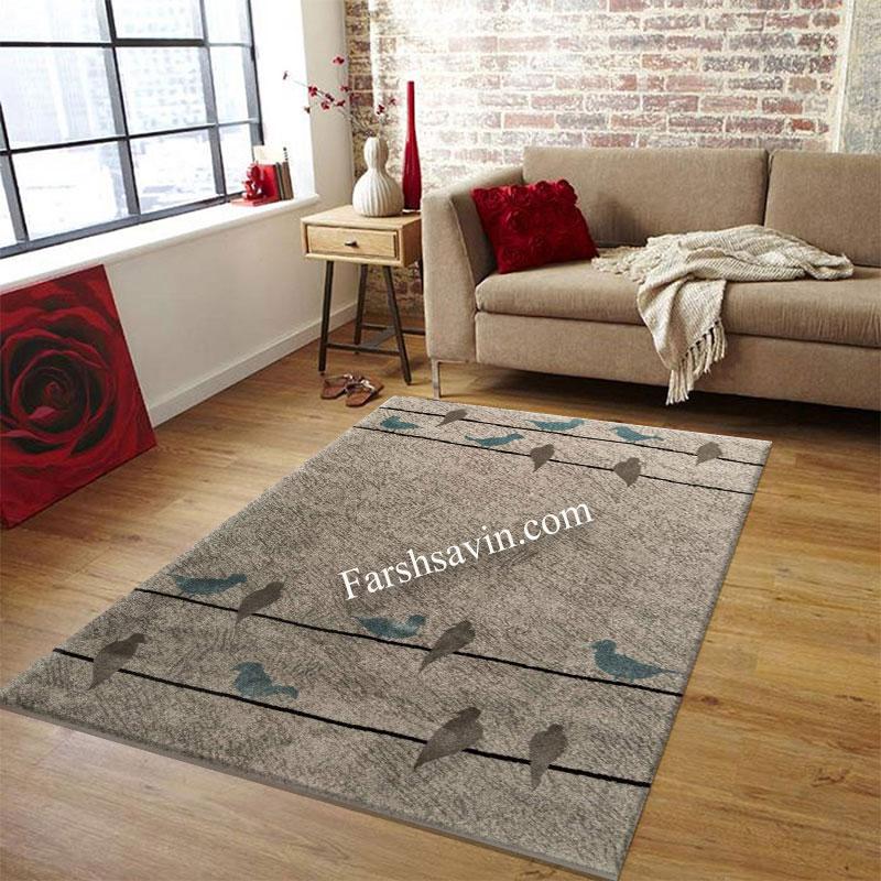 فرش ساوین 4008 نقره ای فرش مدرن