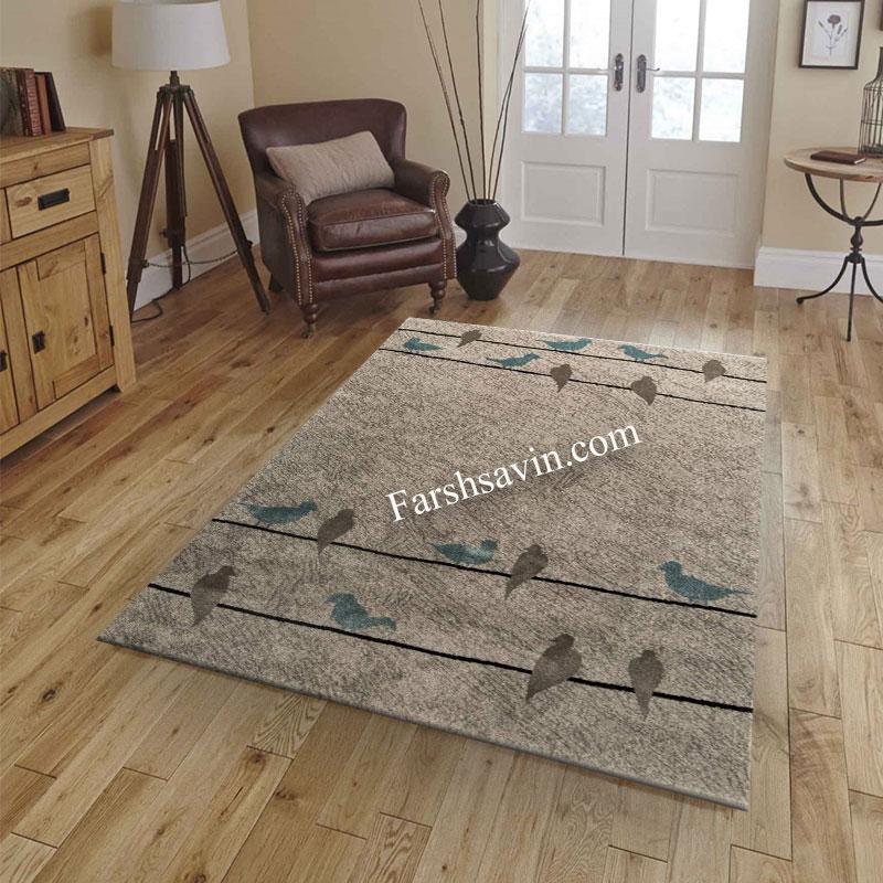 فرش ساوین 4008 نقره ای فرش خوش نقشه