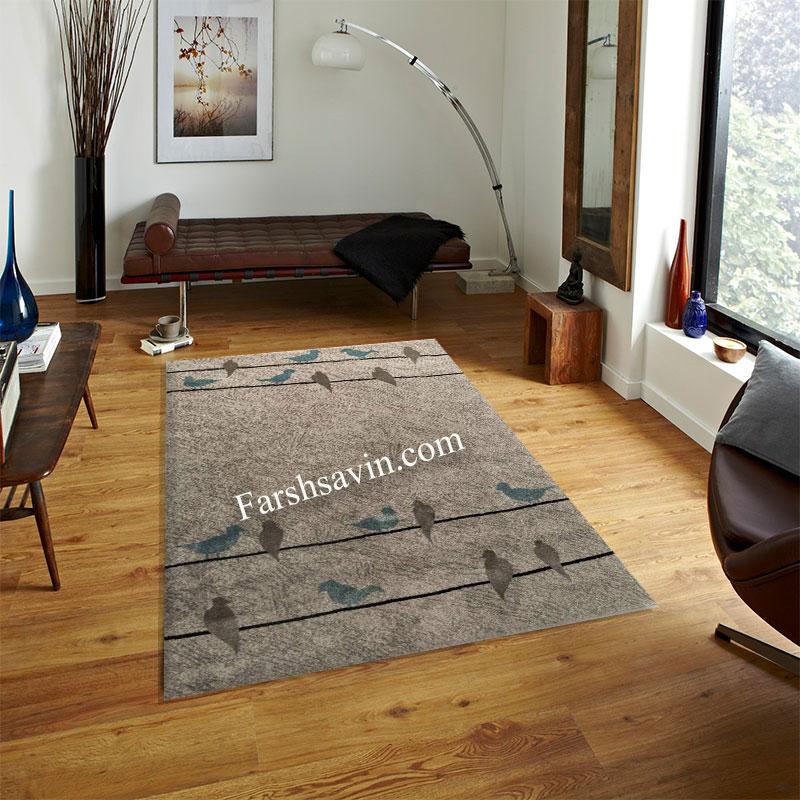 فرش ساوین 4008 نقره ای فرش اتاق پذیرایی