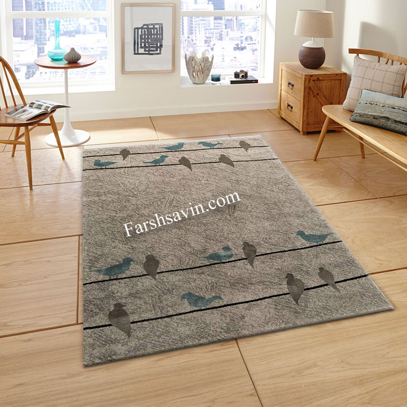 فرش ساوین 4008 نقره ای فرش زیبا