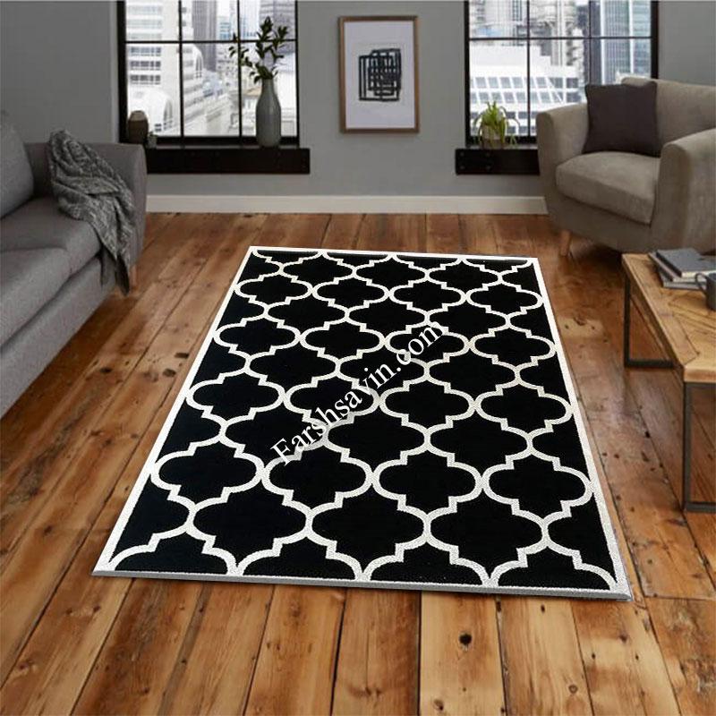 فرش ساوین 4025 مشکی فرش زیبا