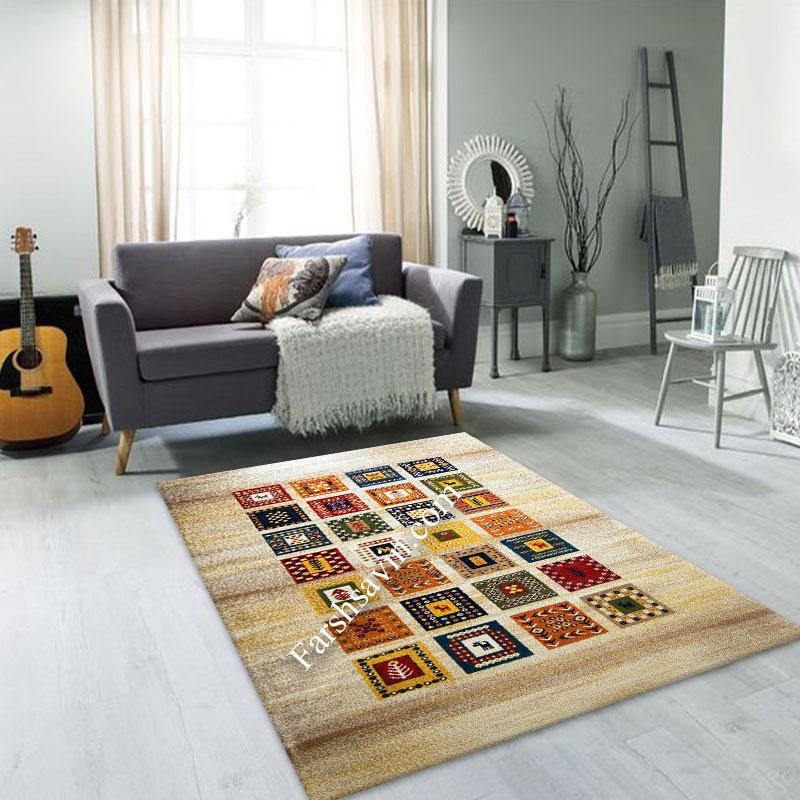 فرش ساوین مهر کرم فرش دستبافت گونه