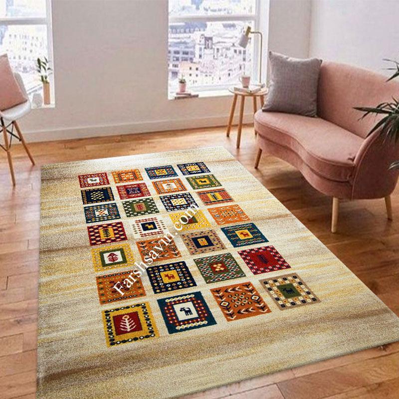 فرش ساوین مهر کرم فرش مناسب اتاق پذیرایی