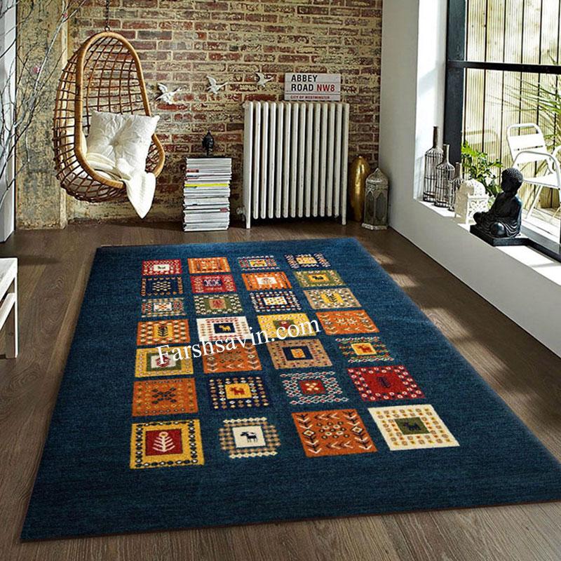 فرش ساوین مهر سرمه ای فرش مناسب اتاق پذیرایی