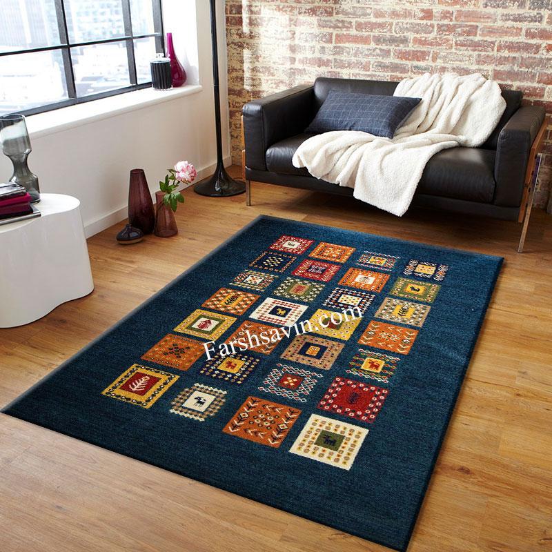 فرش ساوین مهر سرمه ای  فرش عشایری