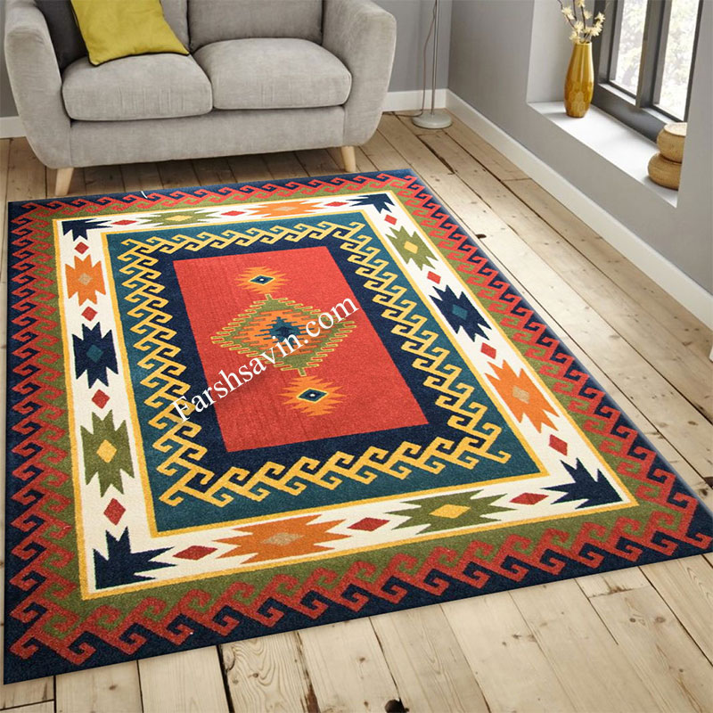 فرش ساوین پامچال سرمه ای فرش با دوام