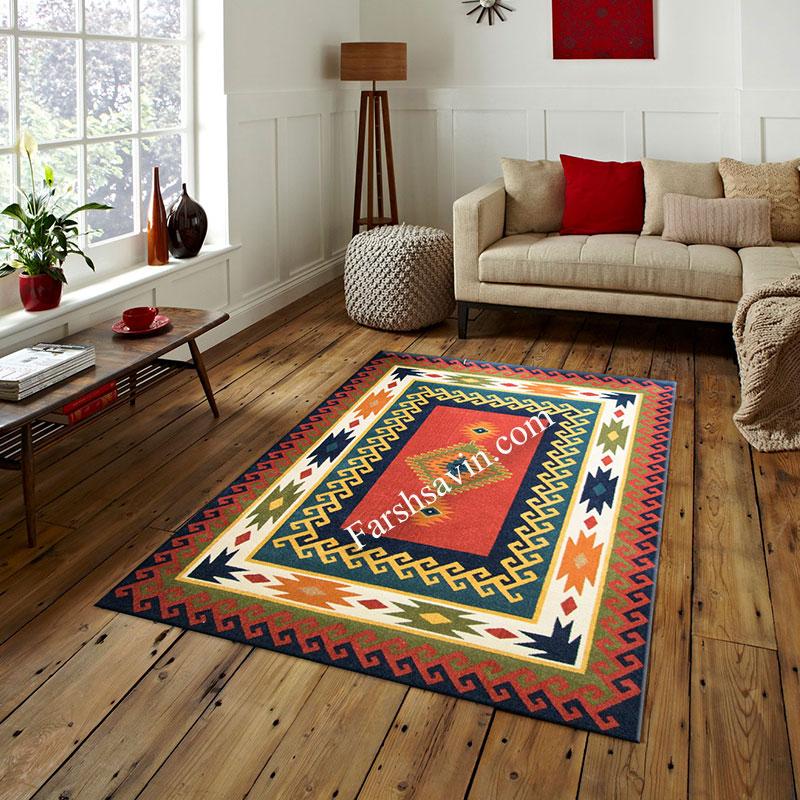 فرش ساوین پامچال سرمه ای فرش با کیفیت