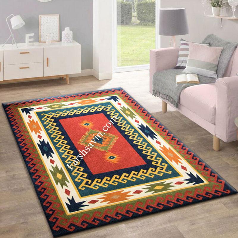 فرش ساوین پامچال سرمه ای  فرش مناسب اتاق پذیرایی