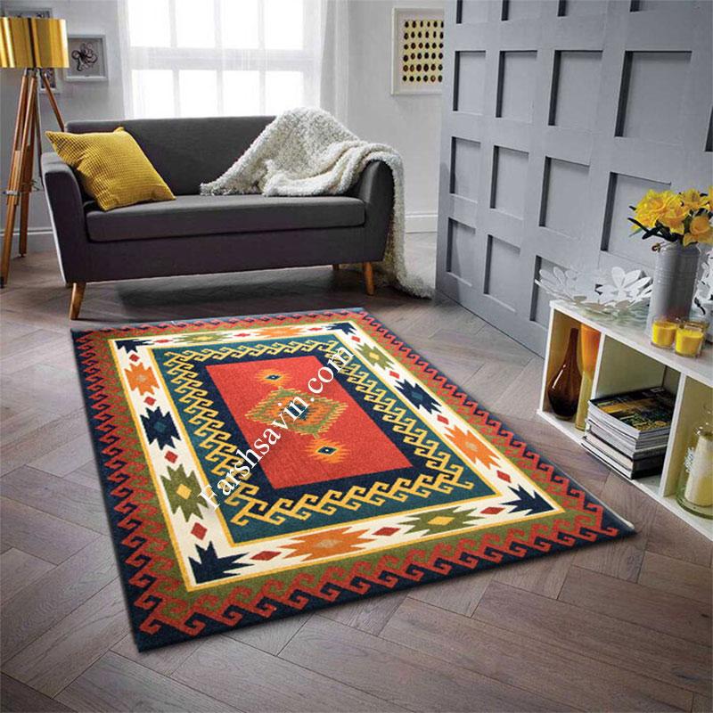 فرش ساوین پامچال سرمه ای فرش آشپزخانه