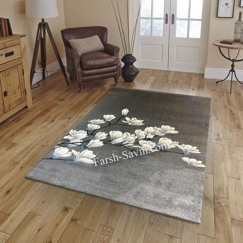 فرش ساوین 4037 نقره ای روشن فرش بادوام