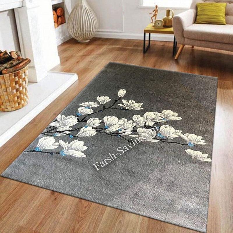 فرش ساوین 4037 نقره ای روشن فرش با کیفیت