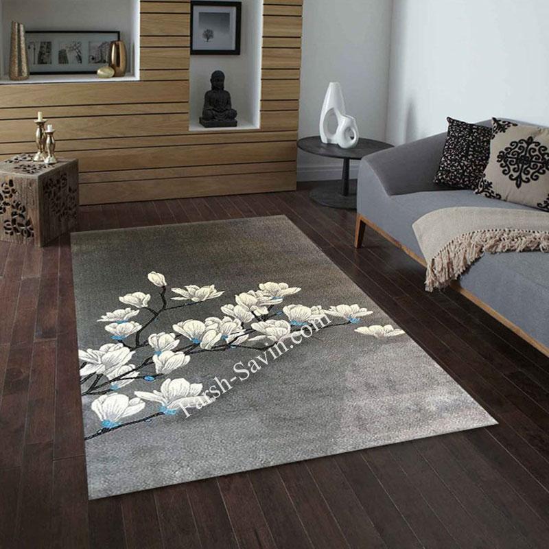 فرش ساوین 4037 نقره ای روشن فرش ارزان
