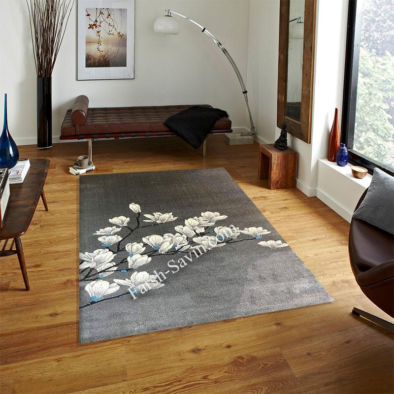 فرش ساوین 4037 نقره ای روشن فرش اتاق خواب