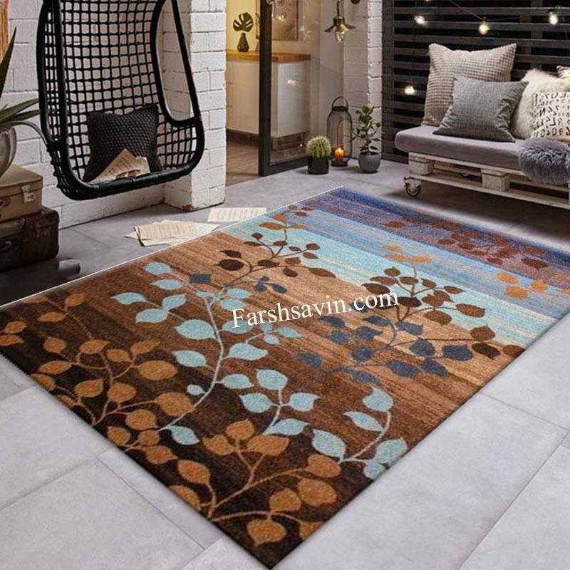 فرش ساوین 4001 شکلاتی فرش اصیل ایرانی