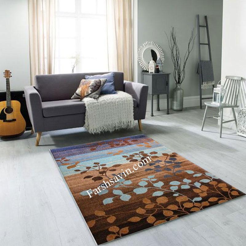 فرش ساوین 4001 شکلاتی فرش اتاق خواب