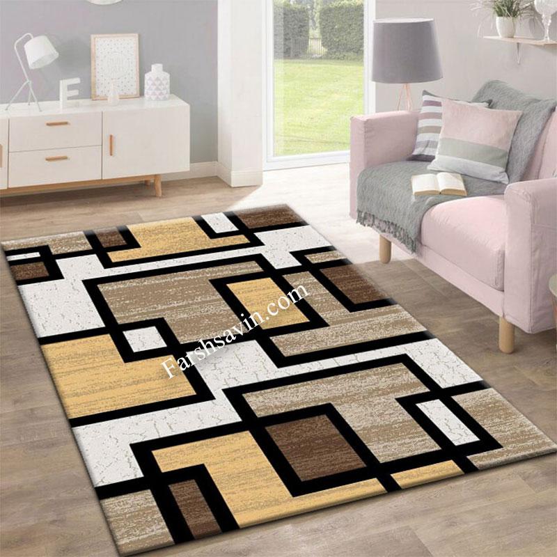 فرش ساوین 4004 کرم فرش مدرن وفانتزی