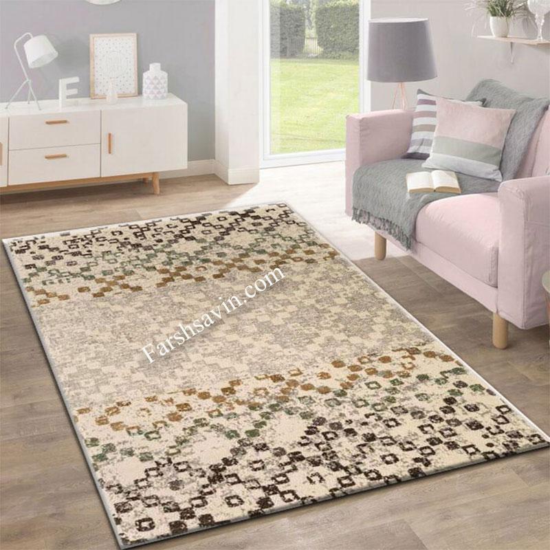 فرش ساوین 4005 کرم فرش خوش نقشه