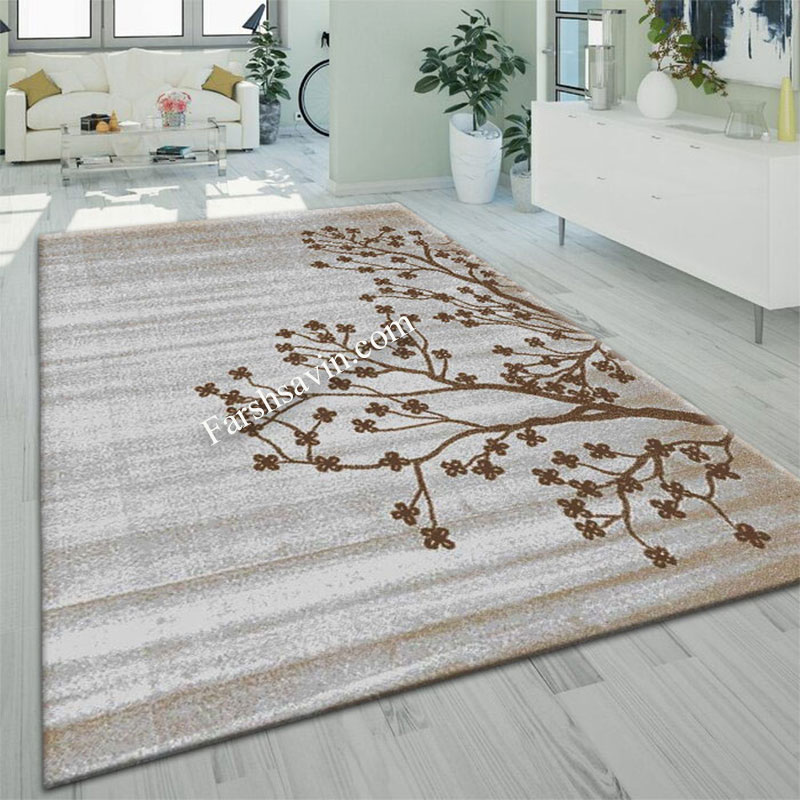 فرش ساوین 4006 نقره ای فرش شیک و مدرن