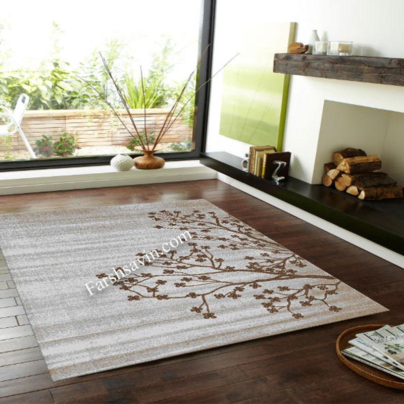 فرش ساوین 4006 نقره ای فرش فانتزی