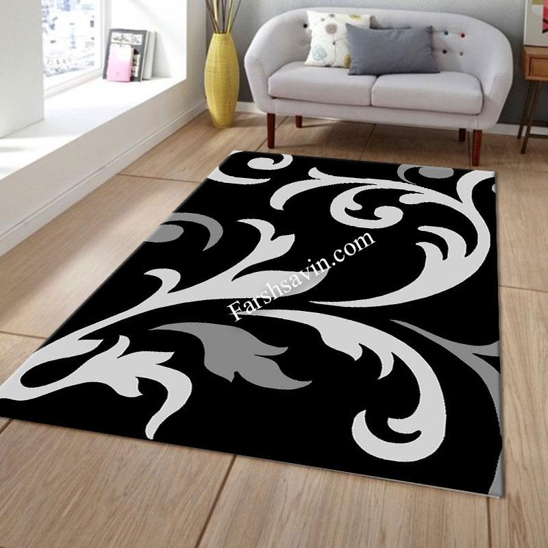 فرش ساوین 4009 مشکی فرش با کیفیت
