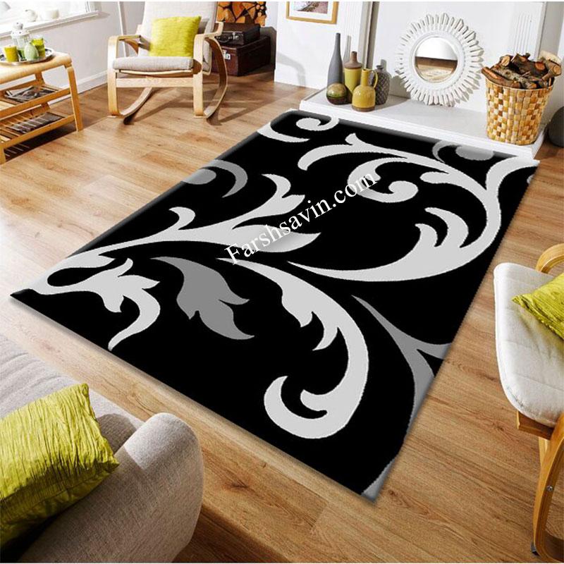 فرش ساوین 4009 مشکی فرش اتاق خواب