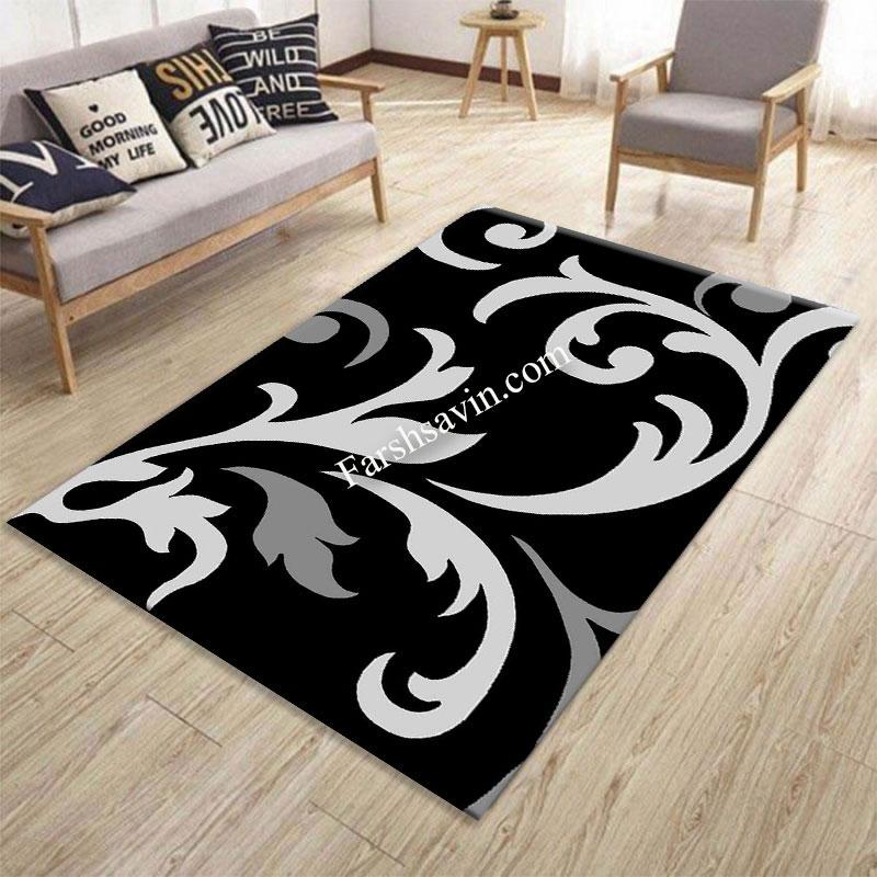 فرش ساوین 4009 مشکی فرش شیک و خاص