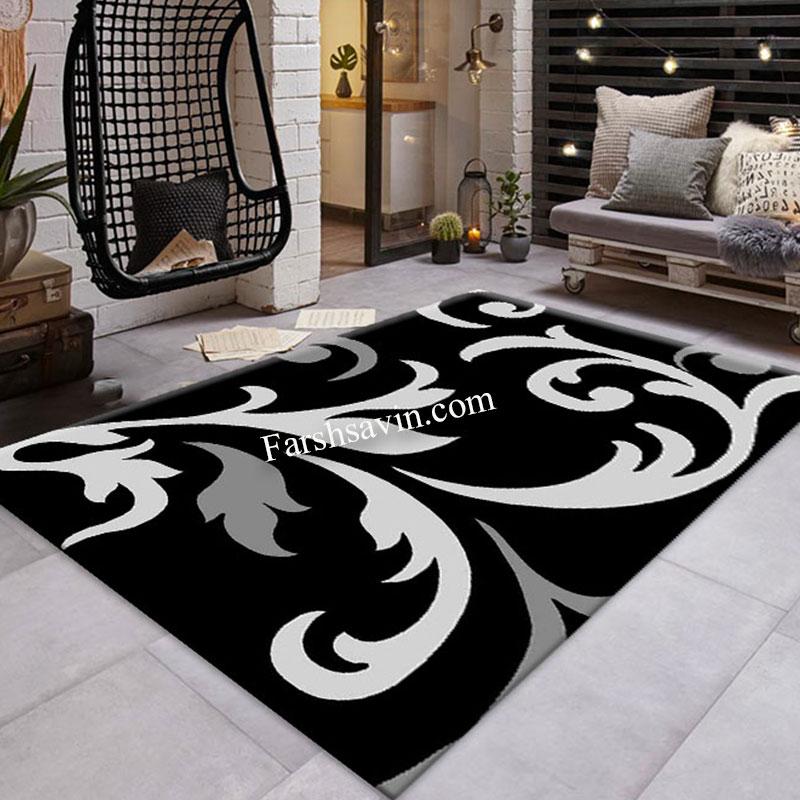 فرش ساوین 4009 مشکی فرش پرفروش