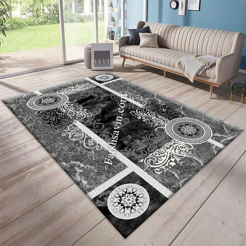 فرش ساوین 4010 مشکی فرش با کیفیت