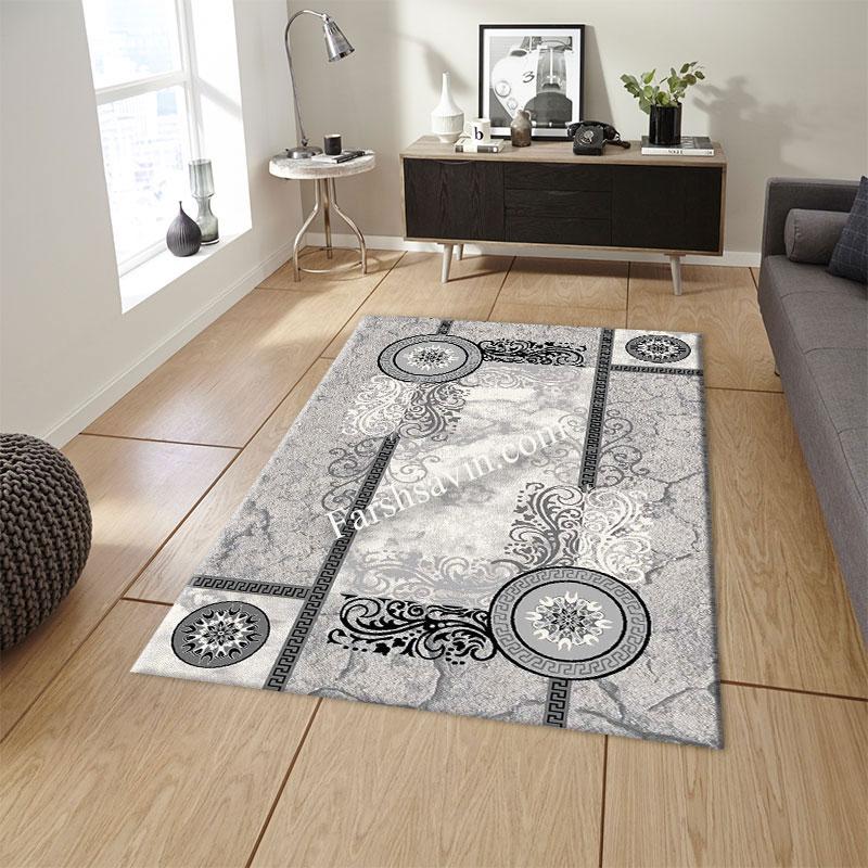 فرش ساوین 4010 نقره ای فرش زیبا