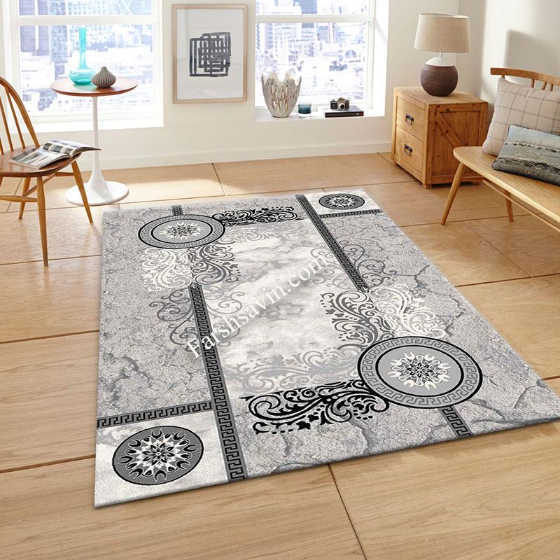 فرش ساوین 4010 نقره ای فرش مدرن