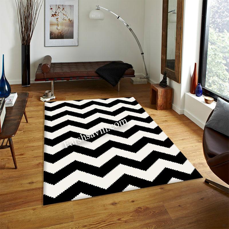 فرش ساوین 4019 سفیدمشکی فرش مدرن