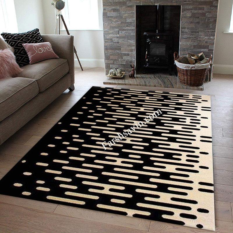 فرش ساوین 4020 مشکی فرش اصیل ایرانی