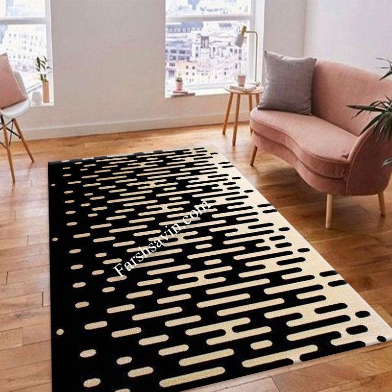 فرش ساوین 4020 مشکی فرش مدرن