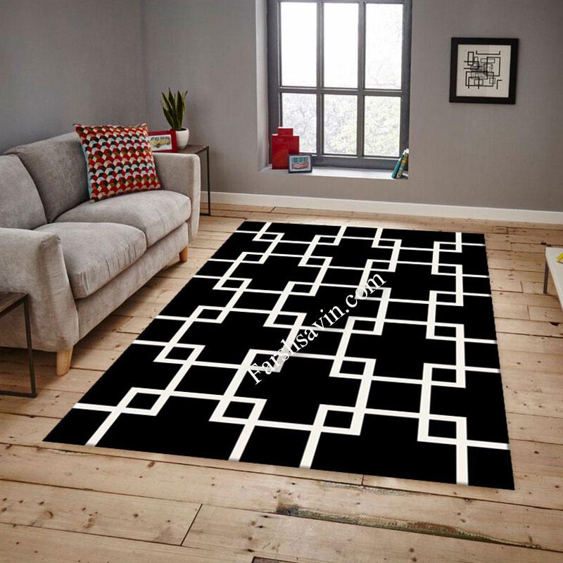 فرش ساوین 4023 مشکی فرش اتاق خواب