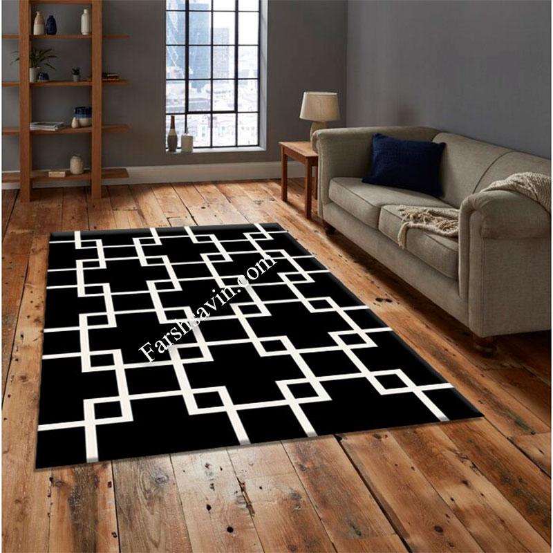 فرش ساوین 4023 مشکی فرش زیبا