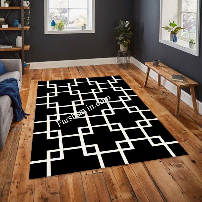 فرش ساوین 4023 مشکی فرش پر فروش