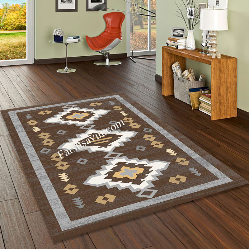 فرش ساوین 4032 نسکافه ای فرش زیبا