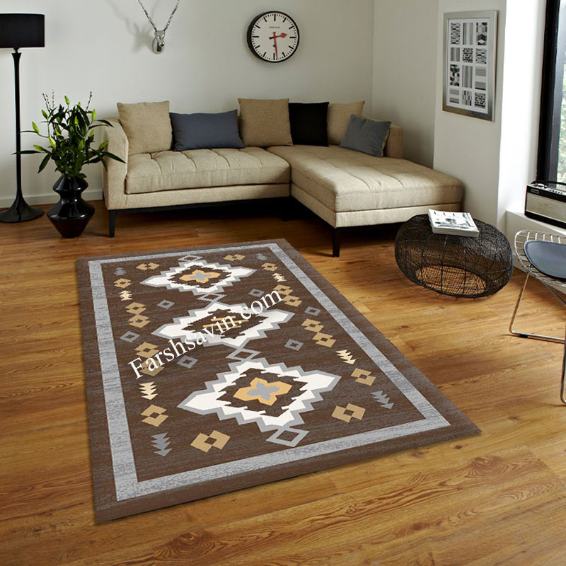 فرش ساوین 4032 نسکافه ای فرش خاص و شیک