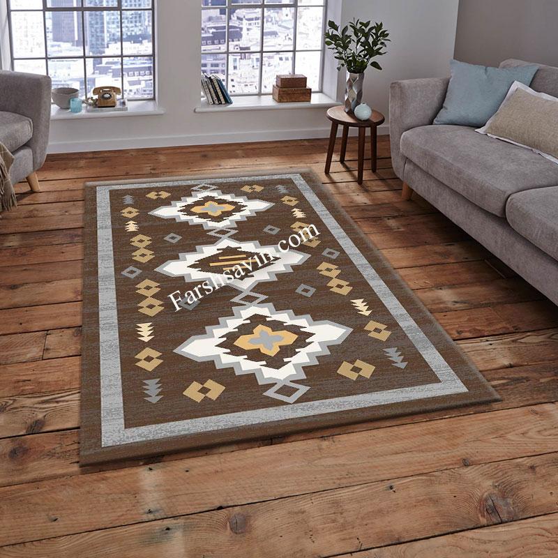 فرش ساوین 4032 نسکافه ای فرش بادوام