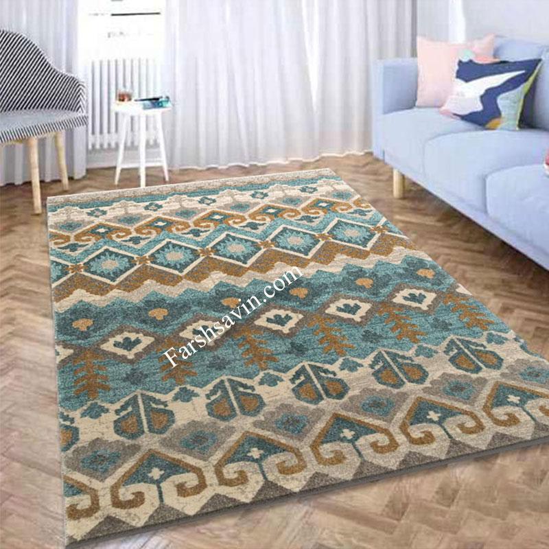 فرش ساوین 4033 آبی فرش زیبا