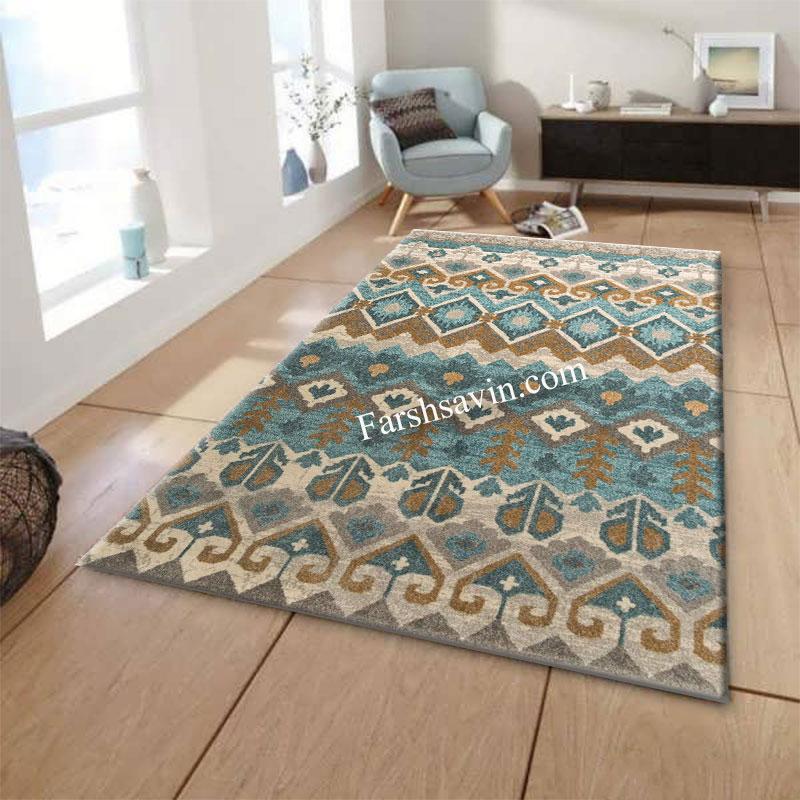 فرش ساوین 4033 آبی فرش پر طرفدار