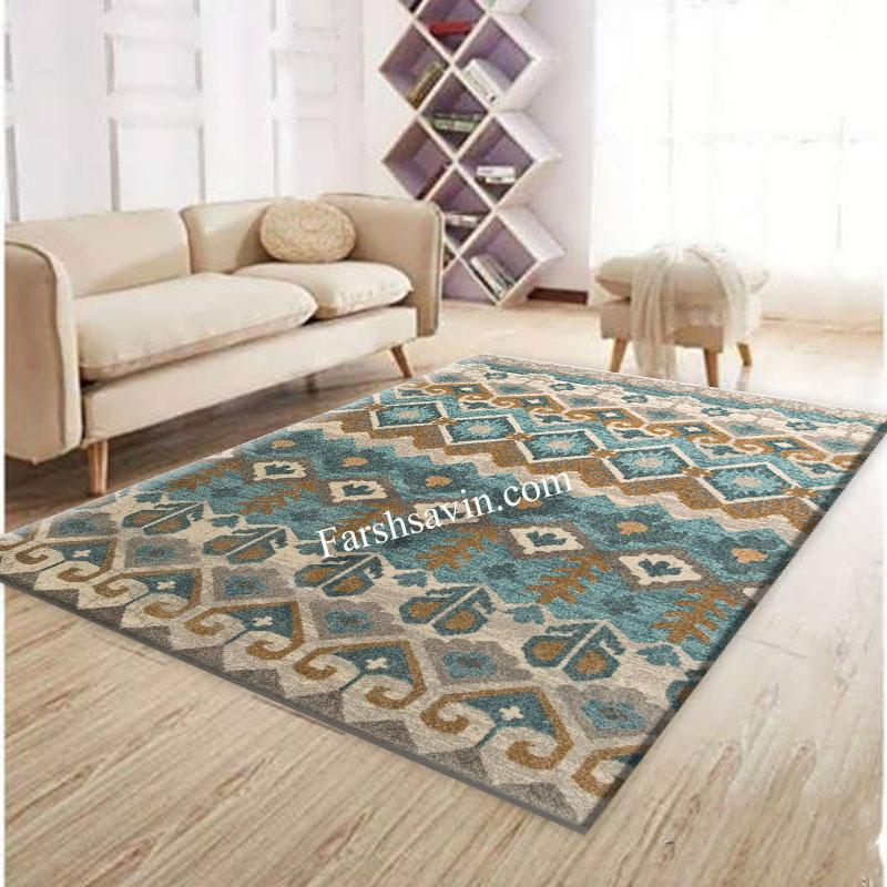فرش ساوین 4033 آبی فرش مناسب اتاق خواب