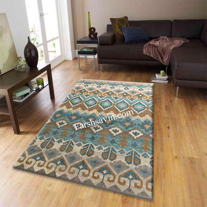 فرش ساوین 4033 آبی فرش پر فروش