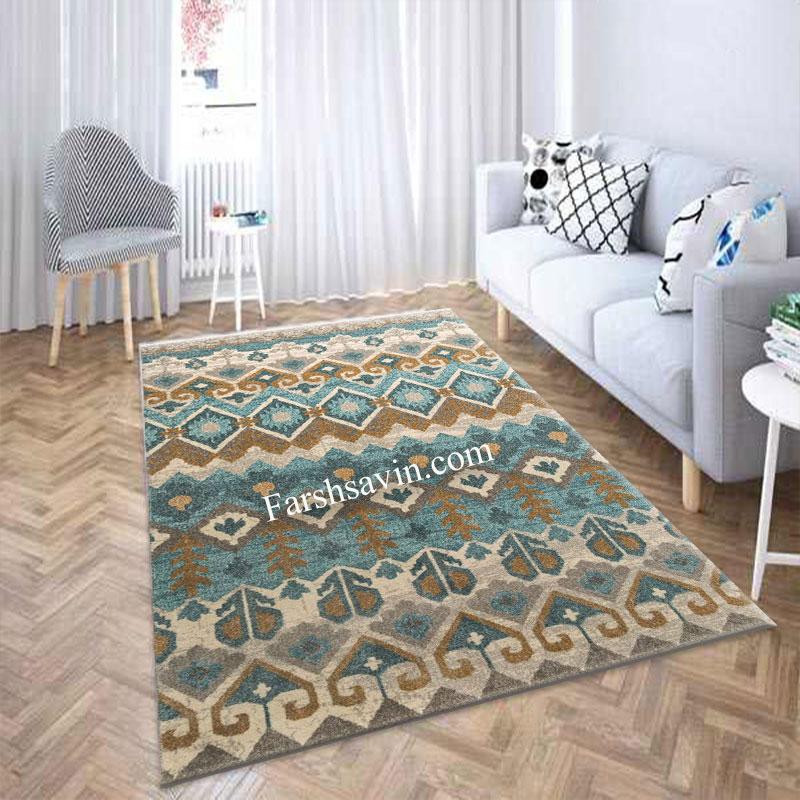 فرش ساوین 4033 آبی فرش فانتزی