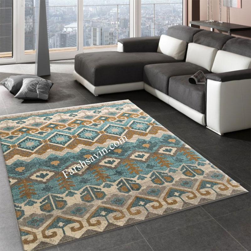 فرش ساوین 4033 آبی فرش مدرن