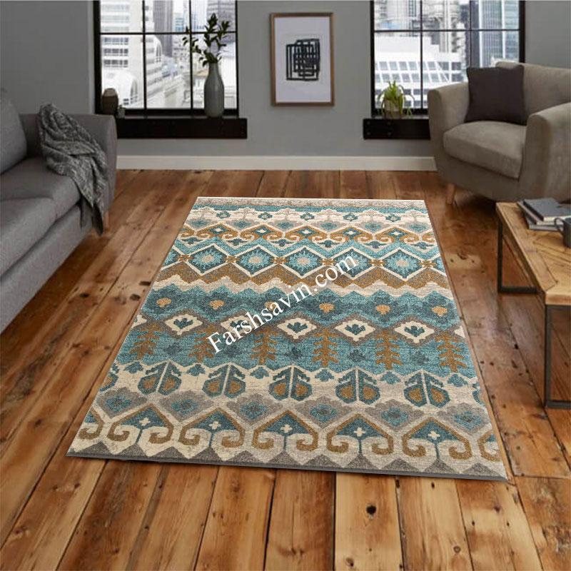 فرش ساوین 4033 آبی فرش اتاق پذیرایی