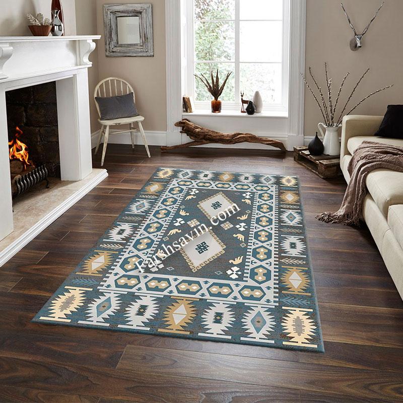 فرش ساوین 4036 آبی فرش پر فروش